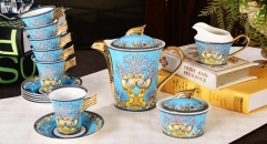 Luxury Royal Palace high quality ceramic blue ocean style cofee and tea set wedding gift business gift (17 pieces)