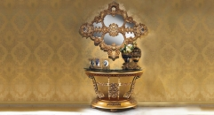 Luxurious Golden Wood Carved Living Room Set Exquisite Engraving Console and Mirror