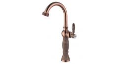 European Style single Holder Single Hole cold and hot water kitchen Faucet, marble and copper kitchen mixer