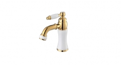 white jade marble and copper basin mixer, Single Handle single hole Bathroom Faucet, cold and hot water basin faucet