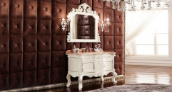 ivory color oak cabinet and mirror,red dragon jade marble, three holes and single basin bathroom vanities