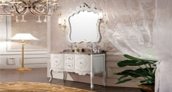ivory color oak cabinet and mirror, volakas white marble, three holes and double basin bathroom vanities