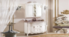 ivory color oak cabinet and mirror, red dragon jade marble, three holes and two basin bathroom vanities