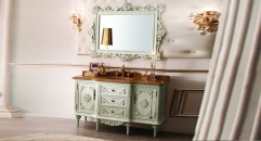 antique white color oak cabinet and mirror, wood grain jade marble, three holes and single basin bathroom vanities
