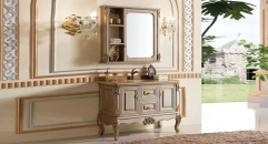 brush silver and gold oak cabinet and mirror, golden hole marble, single hole and single basin bathroom vanities