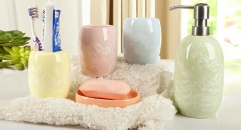 5 pcs colorful porcelain bath set, cup, toothbrush holder,soap dish,lotion bottle, Christmas gift