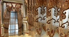 Embroidery Luxurious Pierced Curtain Customized Imperial Quality Fabric Curtains Transparent Gauze