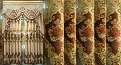 Modern Chenille Luxurious Curtain Customized Quality Embroidery Fabric Curtains Transparent Gauze