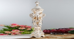 luxury royal display relief carving porcelain art decoration trophy, ivory ceramic on-glazed double ears trophy