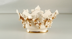 gold inlay ceramic compote, grapes decorative hand made exquisite sugar bowl, ivory porcelain fruit bowl