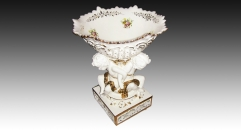 wave mouth workmanship gold inlay ceramic compote, lovely angel decorative square base bowl