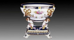 round mouth workmanship gold inlay ceramic compote, lovely angel decorative square base bowl