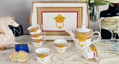 8 pieces classical european style coffee set with tray, bone china tea set, high quality royal golden crown theme coffee set
