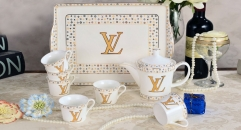 8 pieces european style coffee set with tray, bone china tea set, high quality famous brand coffee set