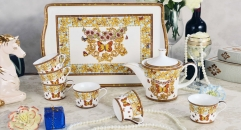 8 pieces european style coffee set with tray, bone china tea set, high quality vivid flowers and butterfly coffee set