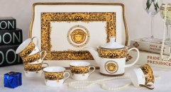 8 pieces Medusa european style coffee set with tray, bone china tea set, high quality yellow paddy flowers design coffee set