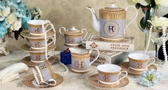 Famous brand H and mosaic design ceramic cofee and tea set wedding gift business gift (17 pieces)