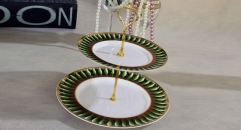 exquisite workmanship royal bone china 2 layer porcelain style tray, double layer green leaves decoration fruit plate