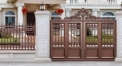 classical champagne color villa outside gate, security aluminum door