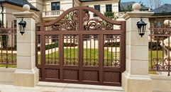 showily brown villa outside gate, flowers carving security aluminum door