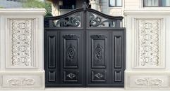 simple design black villa outside gate, flowers carving security aluminum door