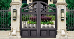 black villa outside gate, flowers carving security aluminum door