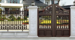 dark brown aluminum door