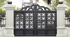 round circle black villa outside gate, security aluminum door